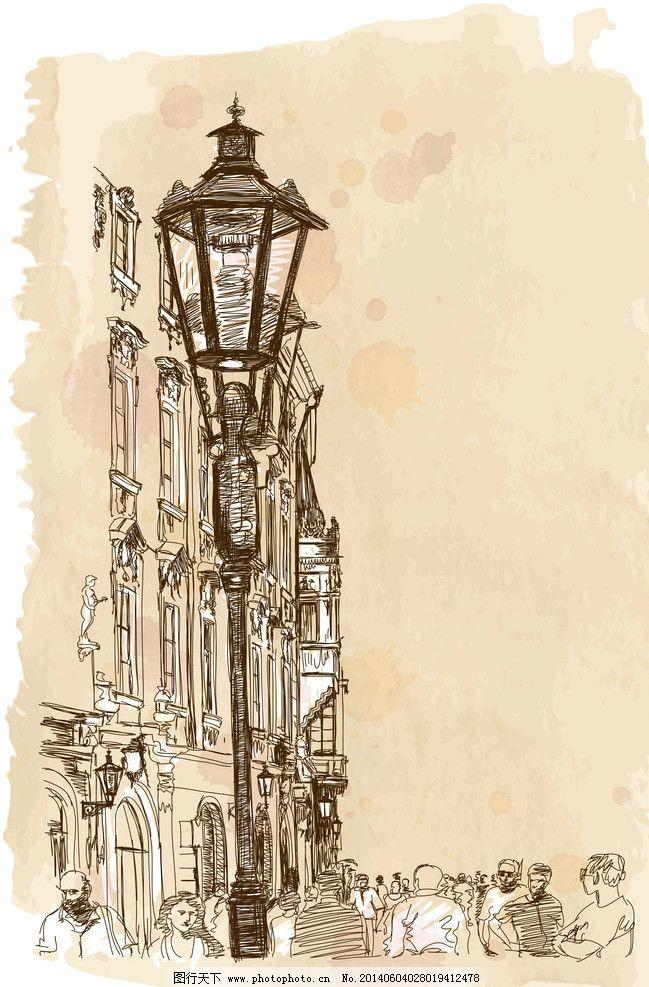 手绘城市 都市 城市 国外建筑 手绘 风景 背景 矢量 城市建筑主题