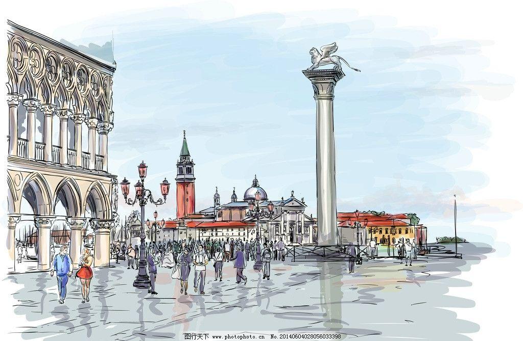 手绘建筑 都市 城市 国外建筑 欧式建筑 卡通 手绘 风景 背景 矢量