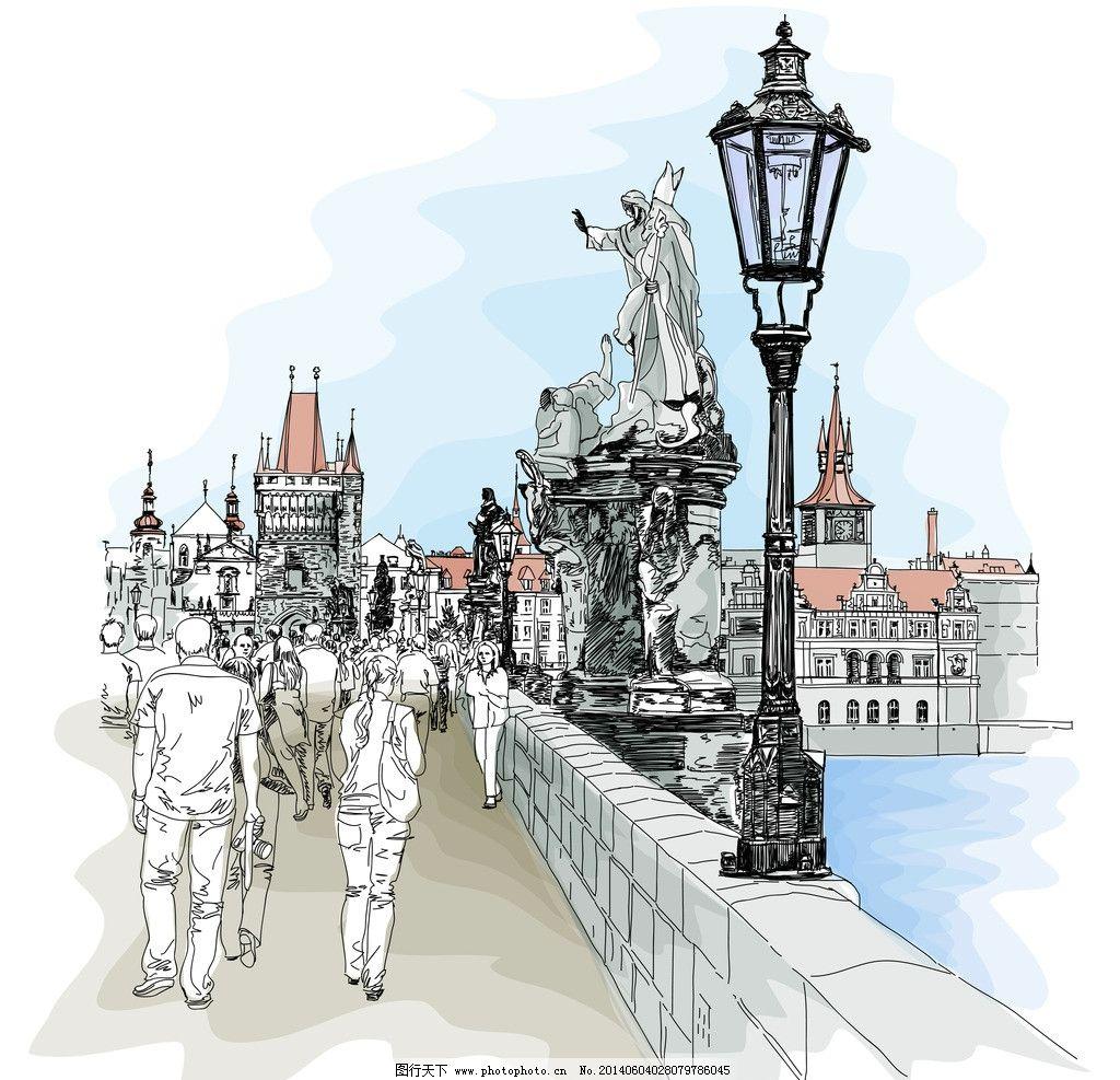 欧式建筑 卡通 手绘 风景 背景 矢量 城市建筑主题 城市建筑 建筑家居