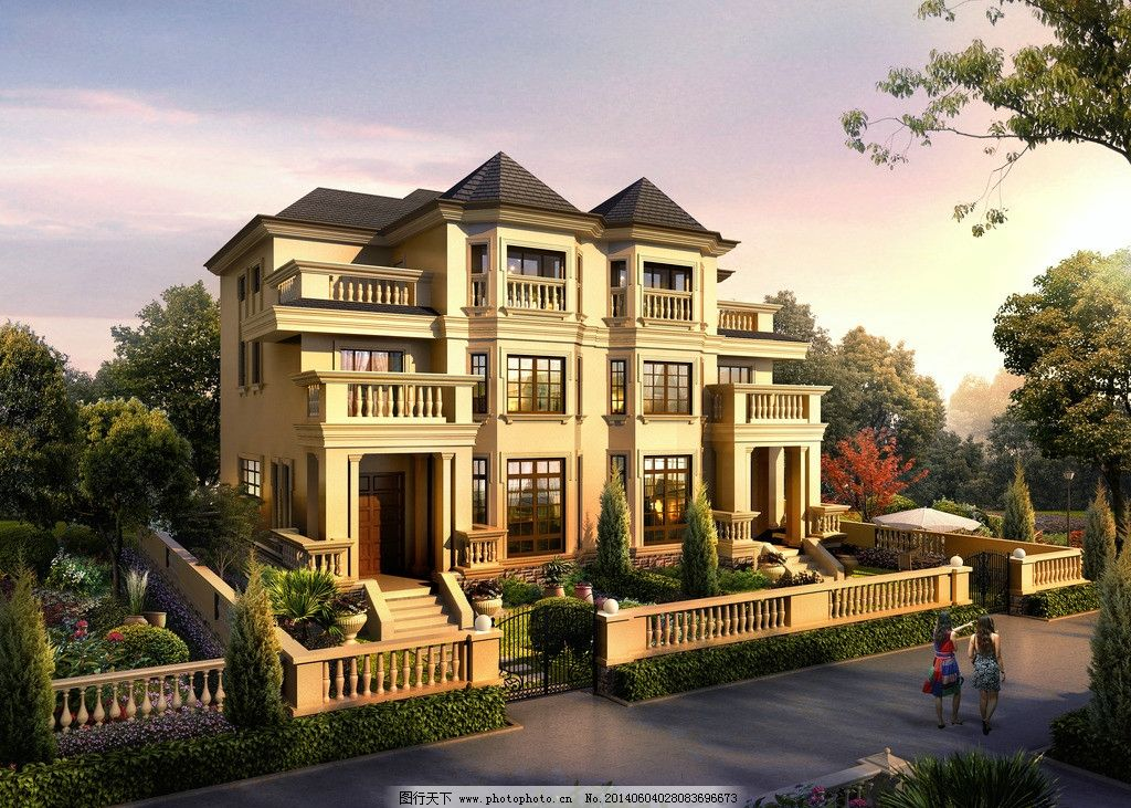别墅效果图 别墅        三层 外立面 坡屋顶 排屋 建筑设计 环境设计