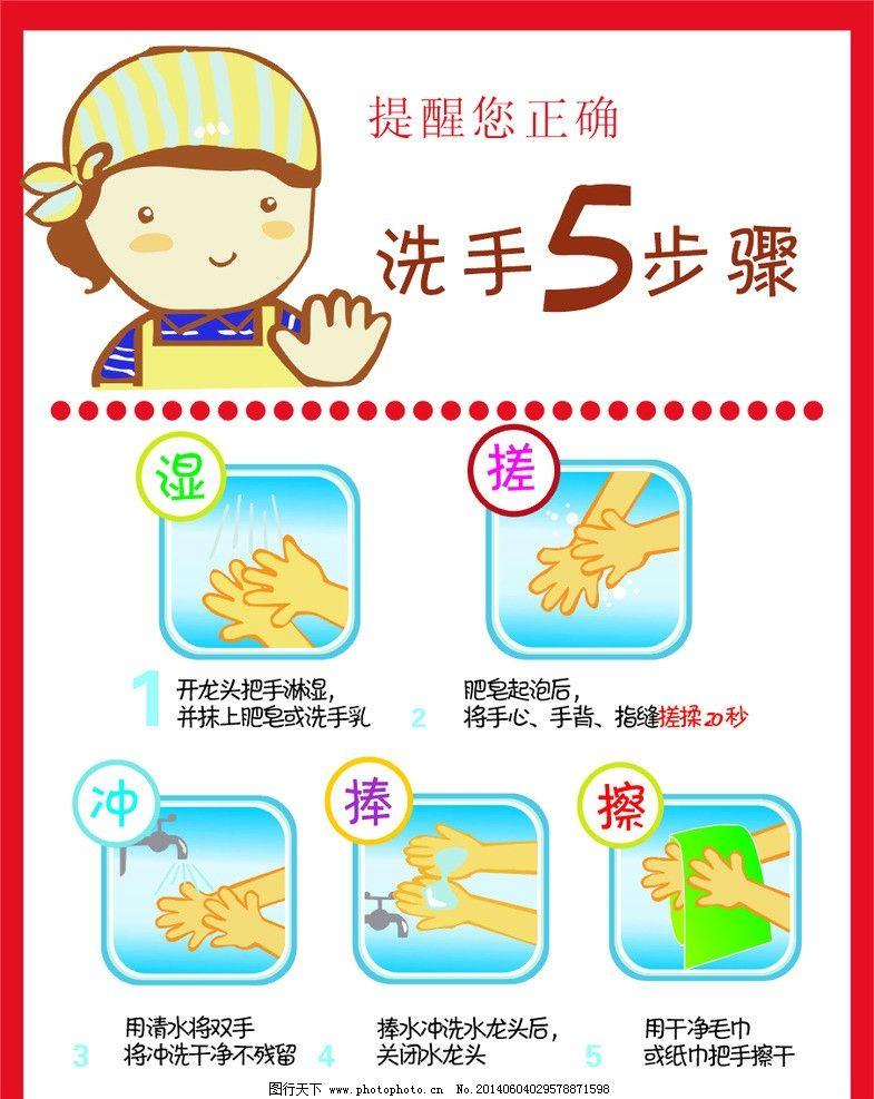 幼儿园洗手五步骤图片
