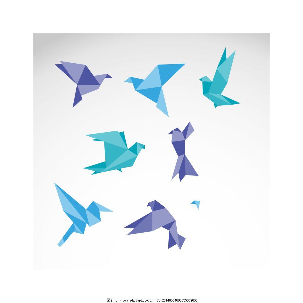 创意折纸小鸟矢量图免费下载