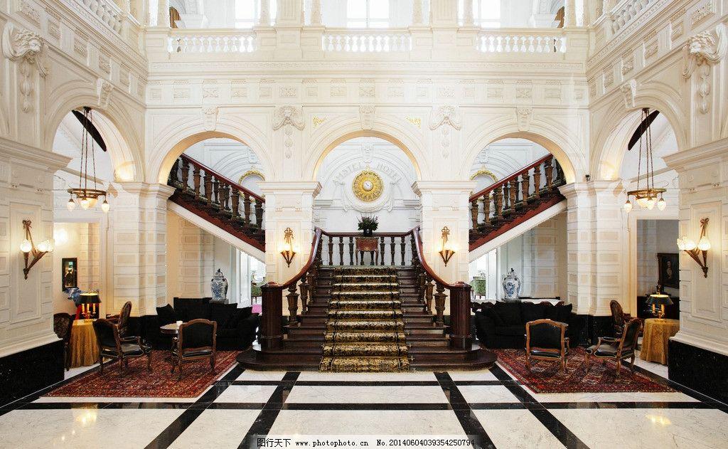 酒店大堂 欧式酒店 大堂 豪华酒店 豪华大厅 室内摄影 建筑园林 摄影