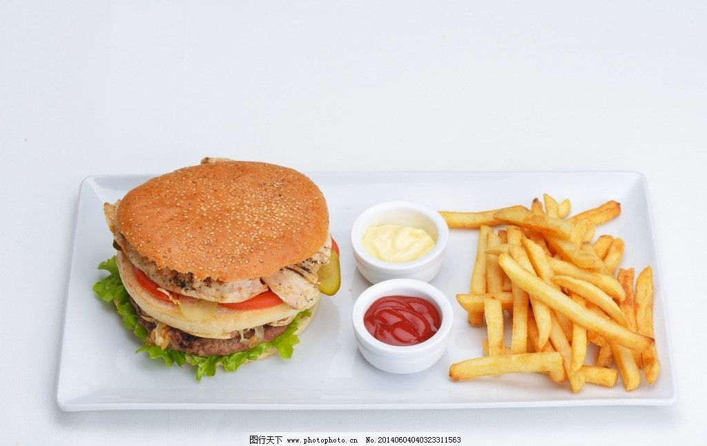 汉堡西餐快餐 汉堡套餐 薯条 西式快餐 麦当劳 肯德基 西餐美食