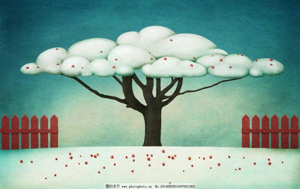 大树梦幻世界 树木 云朵 童话世界 梦话世界 画画 画作 神秘世界