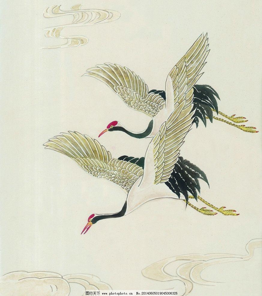 吉祥鸟类 国画 仙鹤 水墨画 绘画 中国画 鸟类 吉祥鸟 图片素材 动物