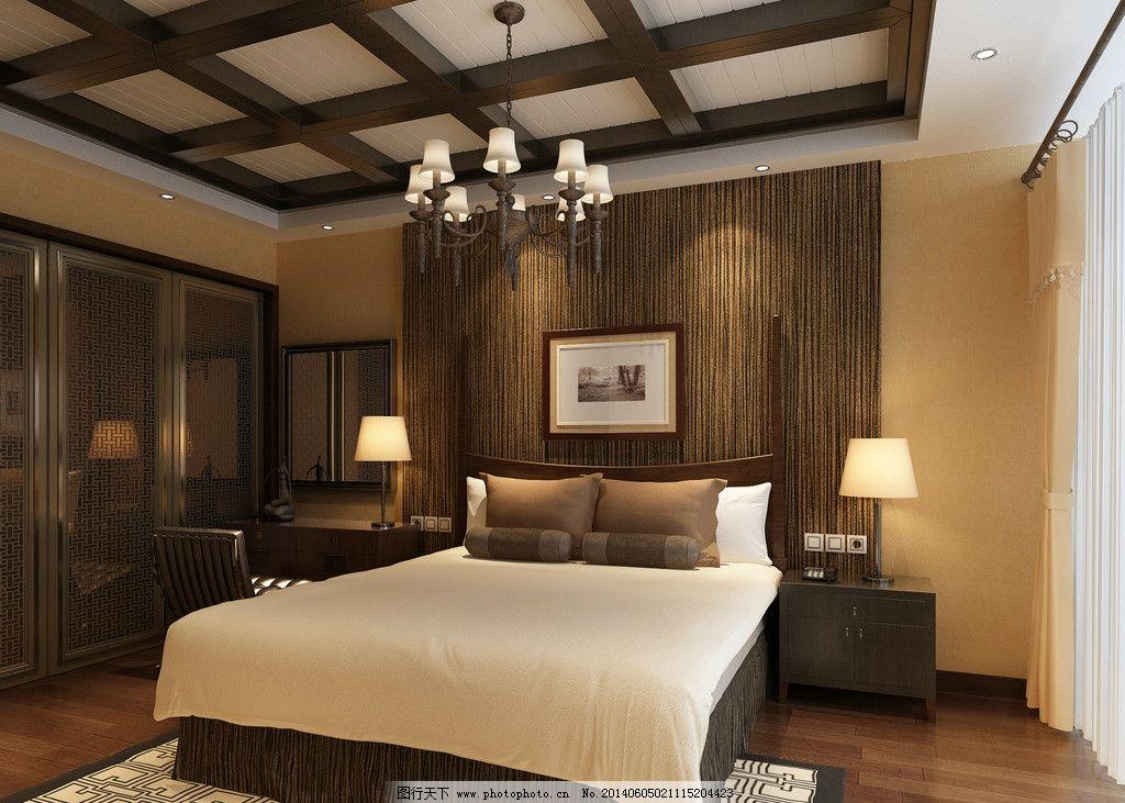 主卧效果图      卧室实木顶面 床 壁灯 卧室背景墙 3d作品 3d设计 设