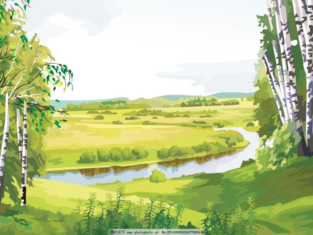 手绘草地 手绘草地 童话背景宣传海报 春天海报 图片素材 风景生活