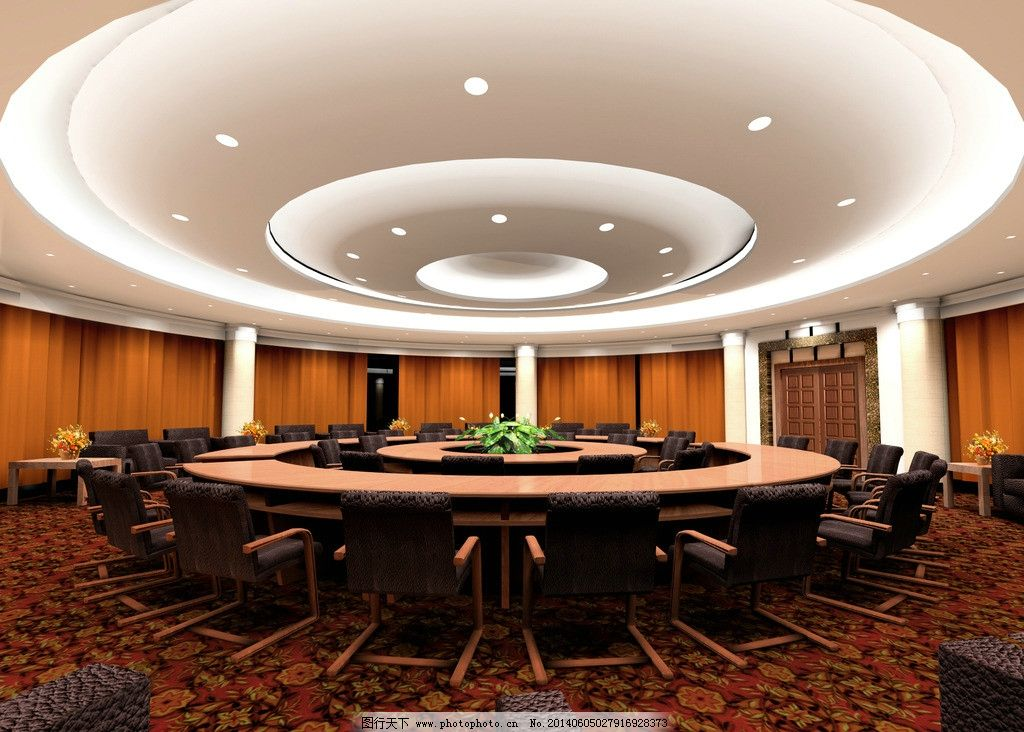 圆形会议室 学院 会议室 室内 圆桌 透视 室内设计 环境设计 源文件