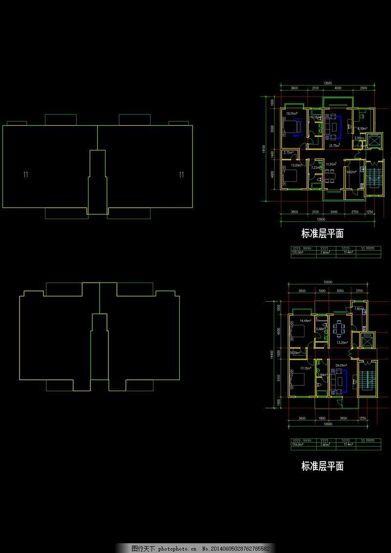 十一层cad建筑 平面图 黑色
