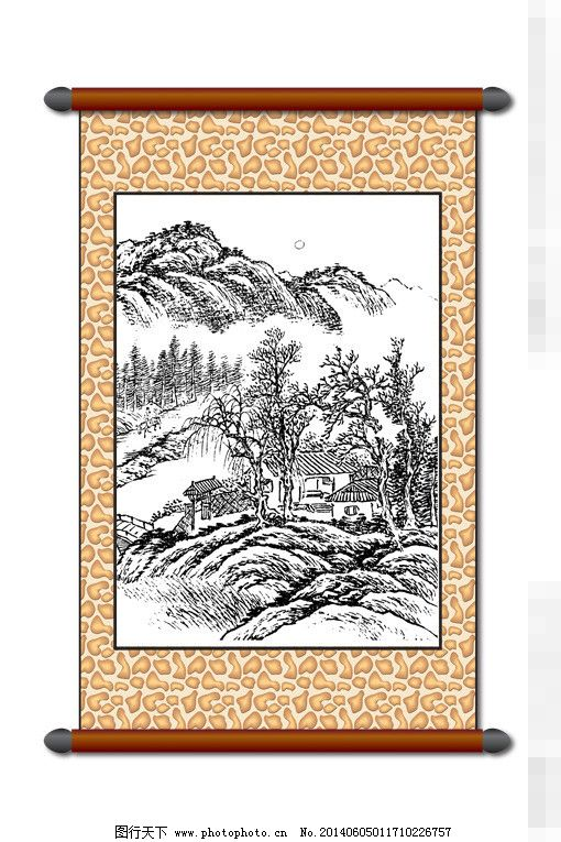 山水画 白描风景 版画风景 山水画 古建筑 线描 工笔 美术 黑白稿