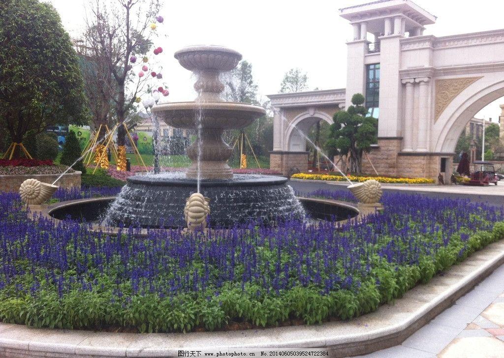 欧式园林 水池 雕塑 美景 欧式庄园 园林景观 高档小区 欧洲花园 水图片