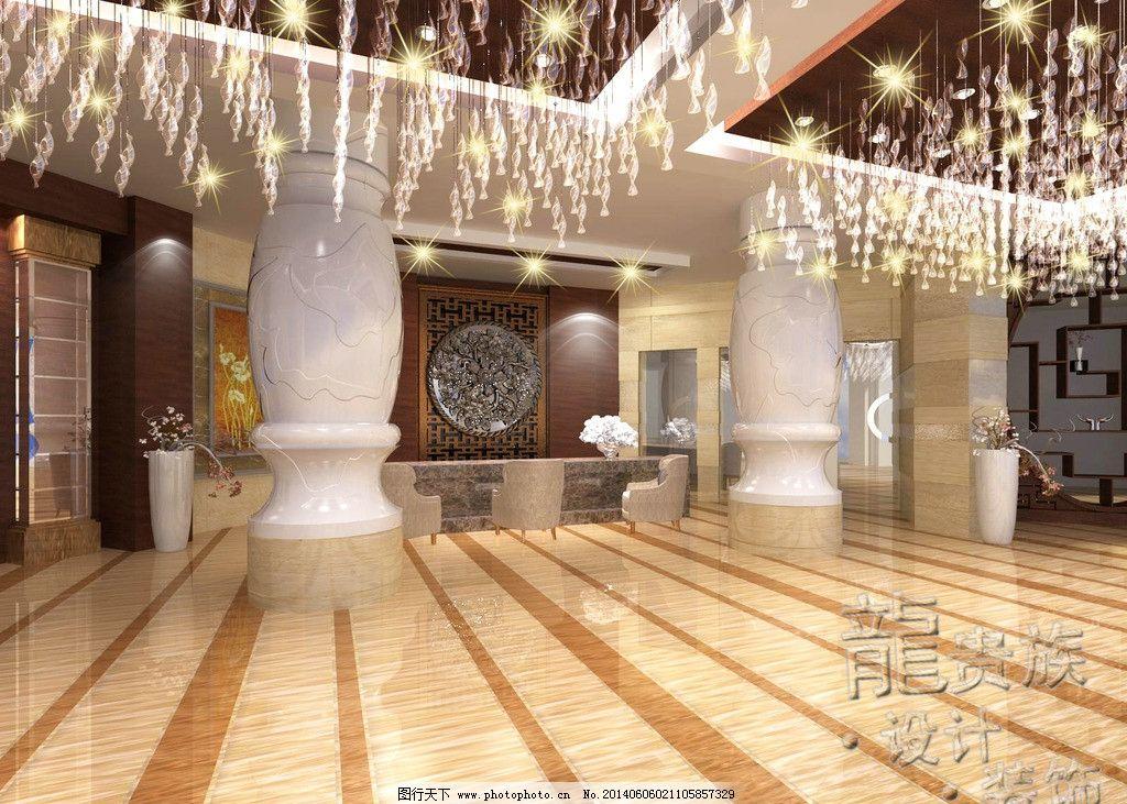 瓜州宾馆 宾馆 柱子 木饰面 大理石 雕刻花 吊顶 3d作品 3d设计 设计