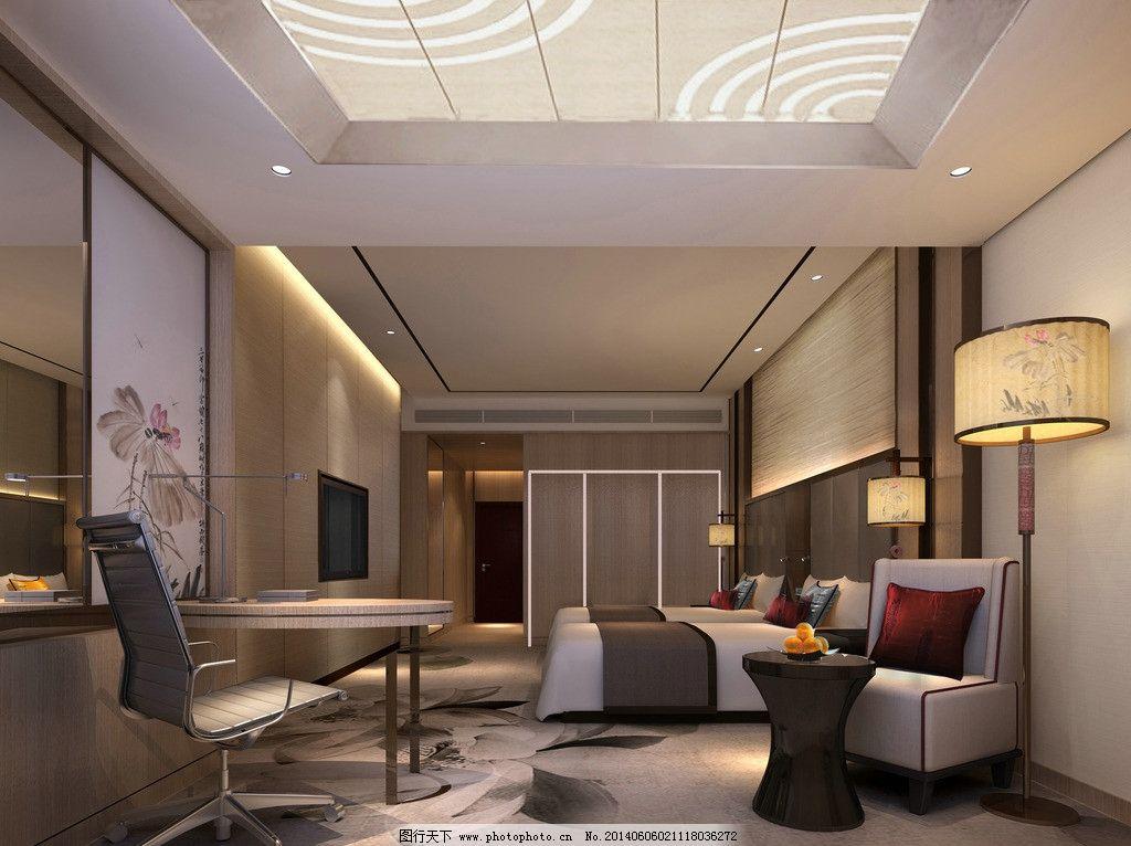 室内效果图 商务客房 室内设计 双人房 简约 大方 3d作品 3d设计 设计