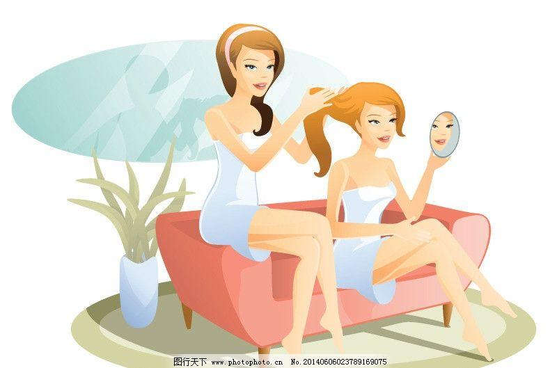 时髦 女性 都市美女 青春美少女 美少女 性感美女 女子 姑娘 手绘 小