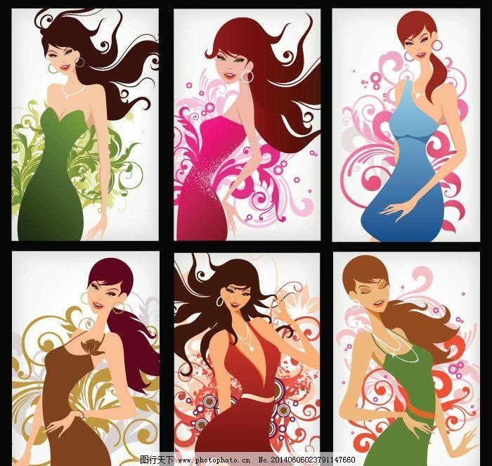 美少女 性感美女 女子 姑娘 手绘 小女孩 服装设计 素描 美丽 浪漫