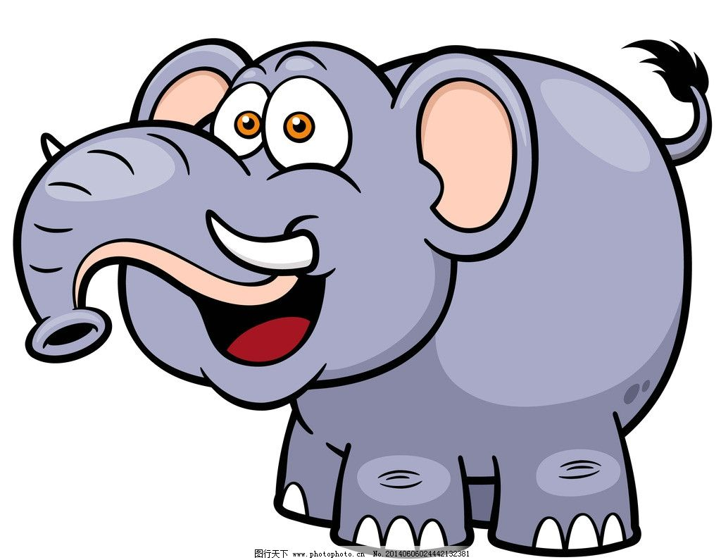 大象 手绘动物 手绘 线描 素描 野生动物 卡通 可爱 矢量 美术绘画