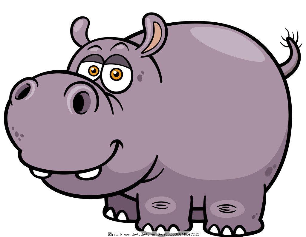 河马 手绘动物 手绘 线描 素描 野生动物 卡通 可爱 矢量 美术绘画