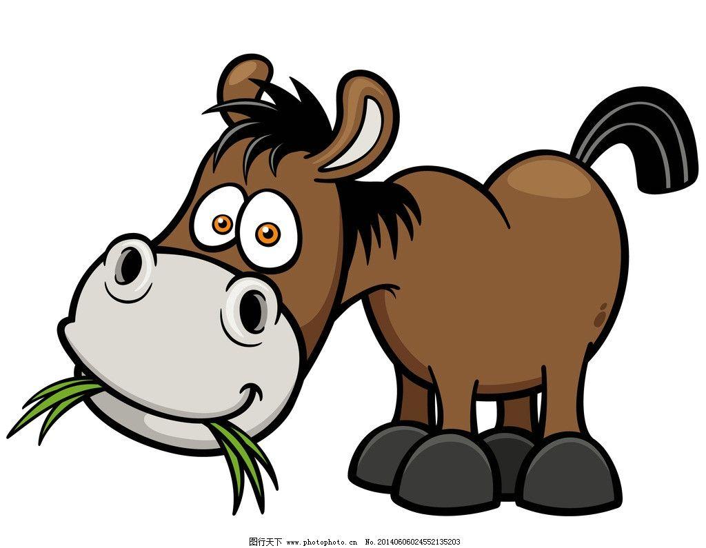 驴子 手绘动物 手绘 线描 素描 野生动物 卡通 可爱 矢量 美术绘画