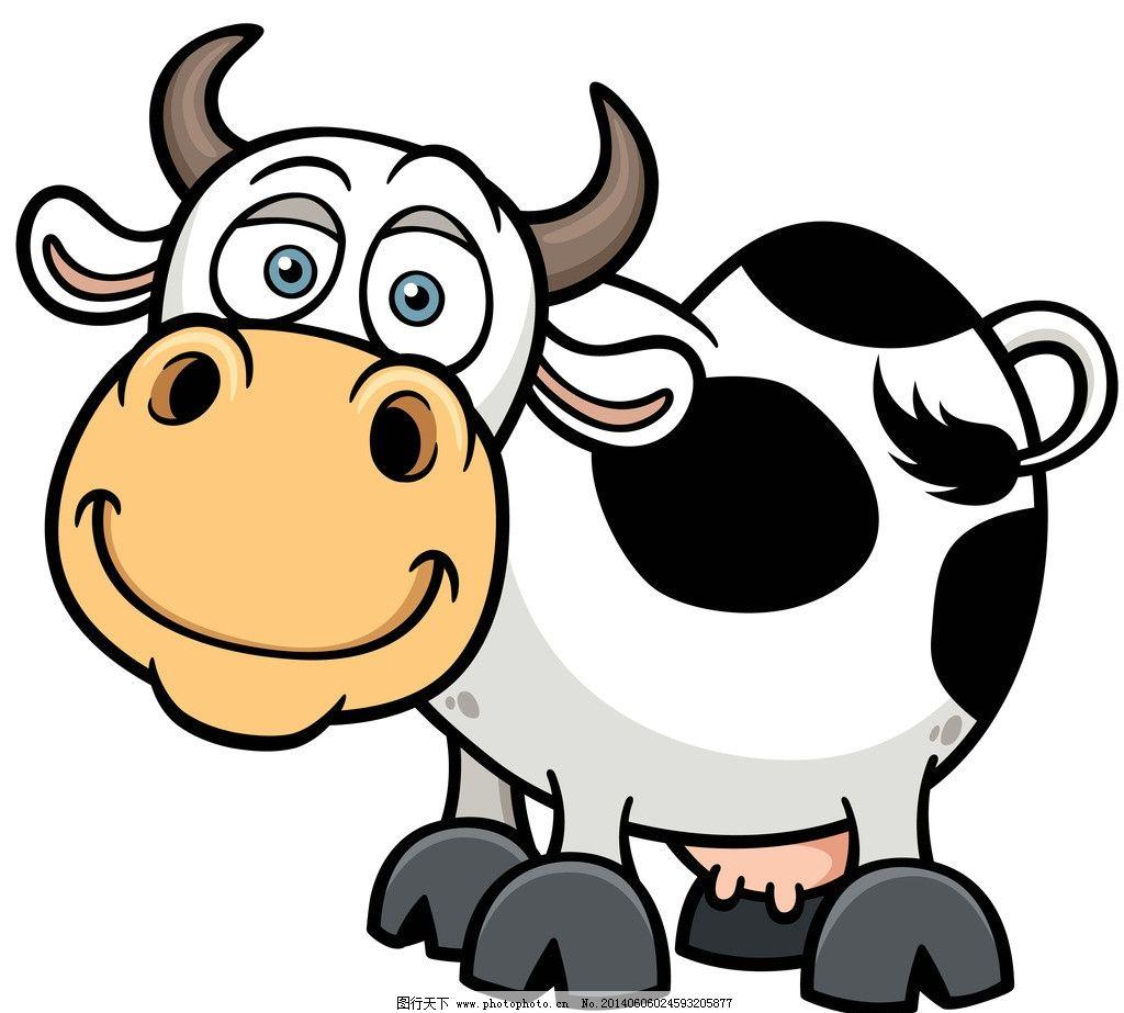 奶牛 手绘动物 手绘 线描 素描 野生动物 卡通 可爱 矢量 美术绘画