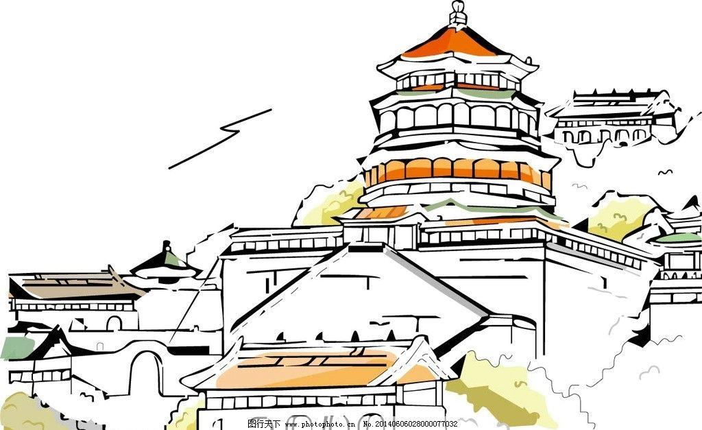 都市 城市 古代建筑 卡通 手绘 风景 背景 矢量 中国建筑主题 城市