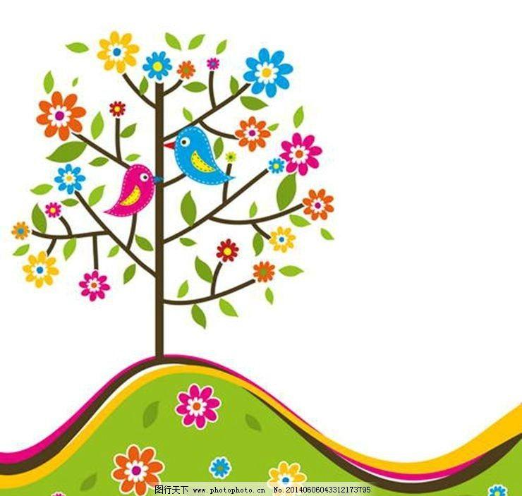 卡通动物背景 大树 小鸟 时尚背景 绚丽背景 背景素材 背景图案