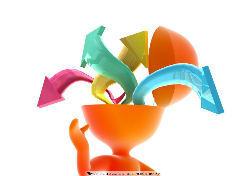 3d人偶 png素材 插图 橘色娃娃 箭头 思考 创意 idea 抽象概念 3d设计