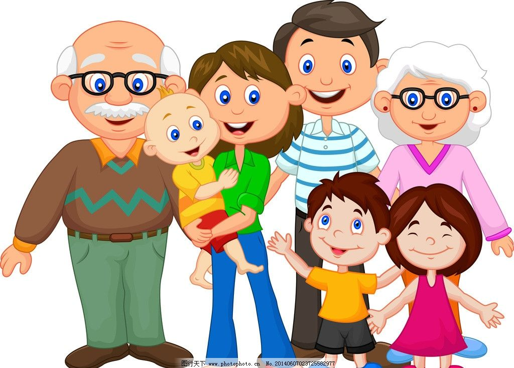女性妇女  卡通人物 卡通儿童 女孩 一家人 家庭 爸爸 妈妈 爷爷 奶奶图片