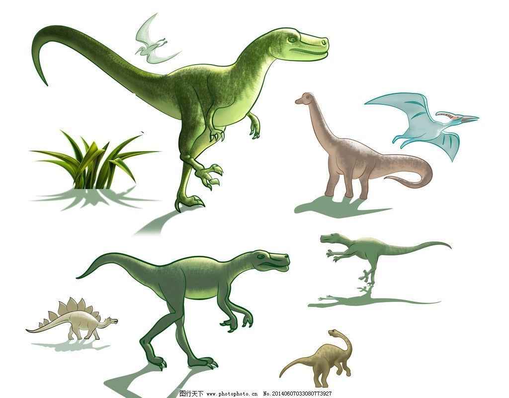卡通恐龙 恐龙 卡通 简笔画 儿童画 插画 韩式 清新 可爱 手绘 侏罗纪-恐