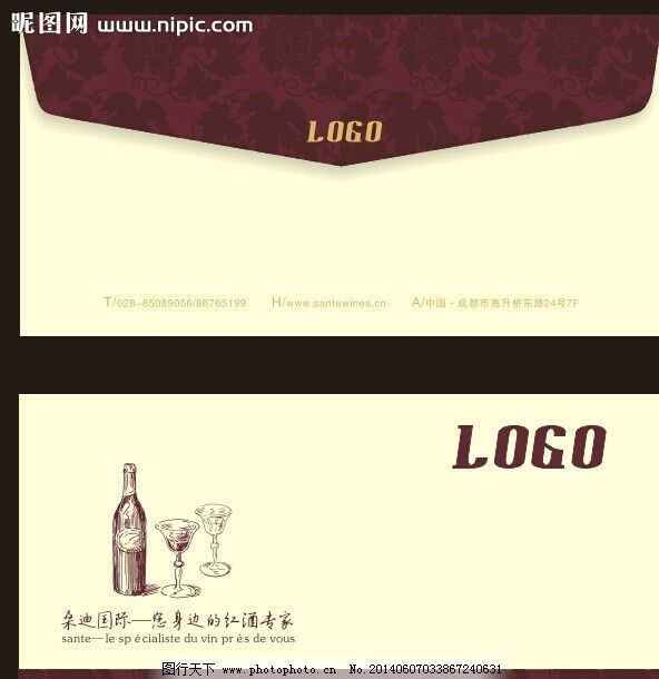 信封 欧式 法国 红酒 暗调 图片素材 其他 设计 cdr