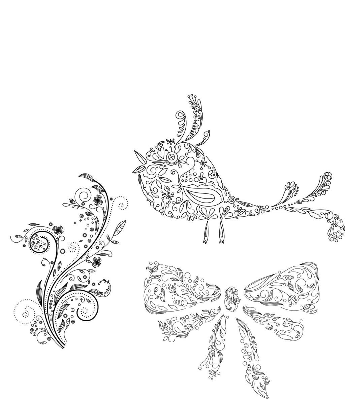蝴蝶结 花纹 手绘 小鸟 创意 手绘 花纹 小鸟 蝴蝶结 矢量图 花纹花边
