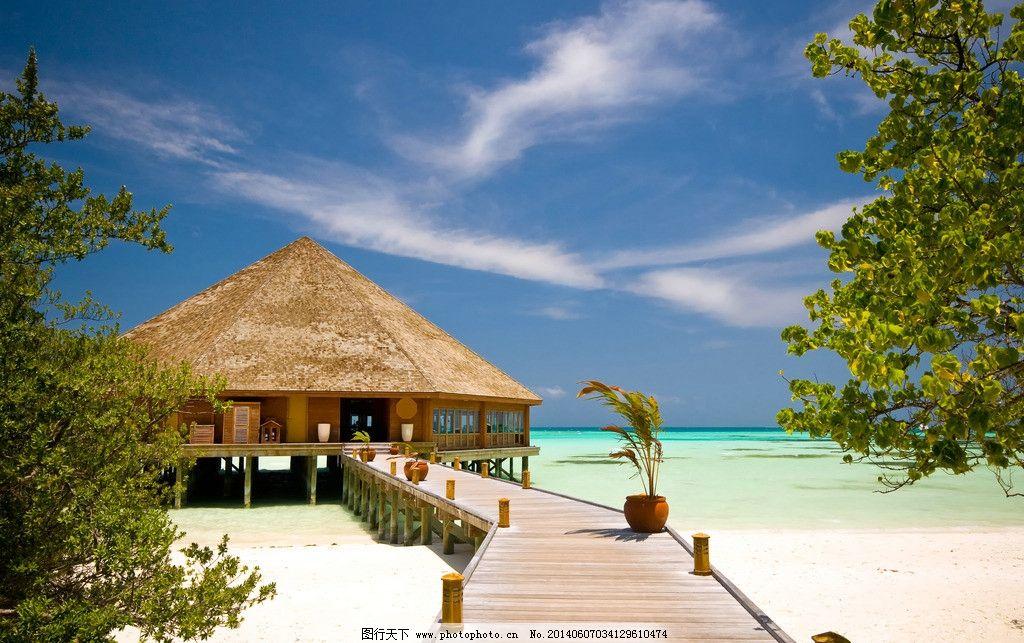 马尔代夫风景 海岛 蓝天白云 茅草屋 沙滩 海洋 马尔代夫海边