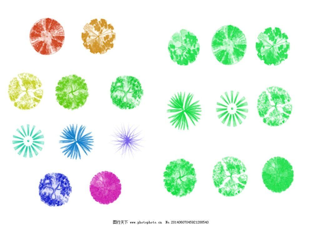 平面植物的笔刷 植物 树 乔木 灌木 平面 彩平 手绘 景观 绿化 设计