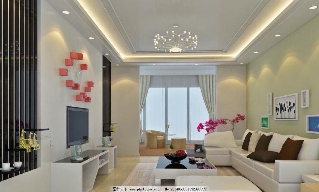 白色装修客厅免费下载 白色           白色 天护板 家居装饰素材