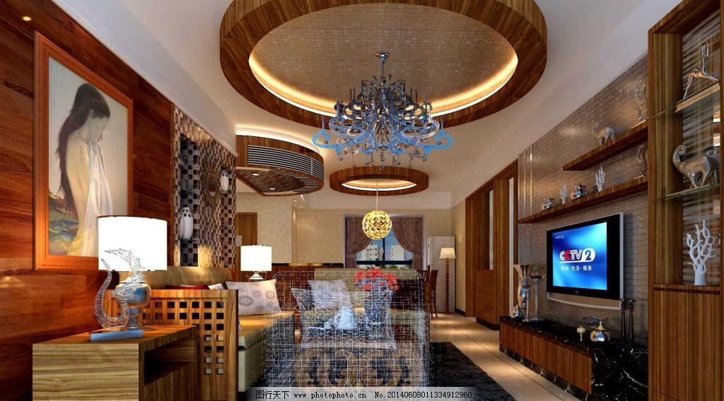 木色客厅 木色客厅免费下载 室内 天花板 装修设计 家居装饰素材