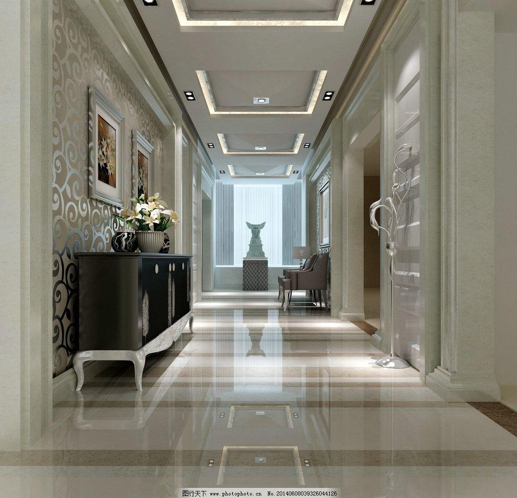走廊 过道 通道 酒店 效果图 陶瓷 奢华 高档 大气 拼花 大理石图片
