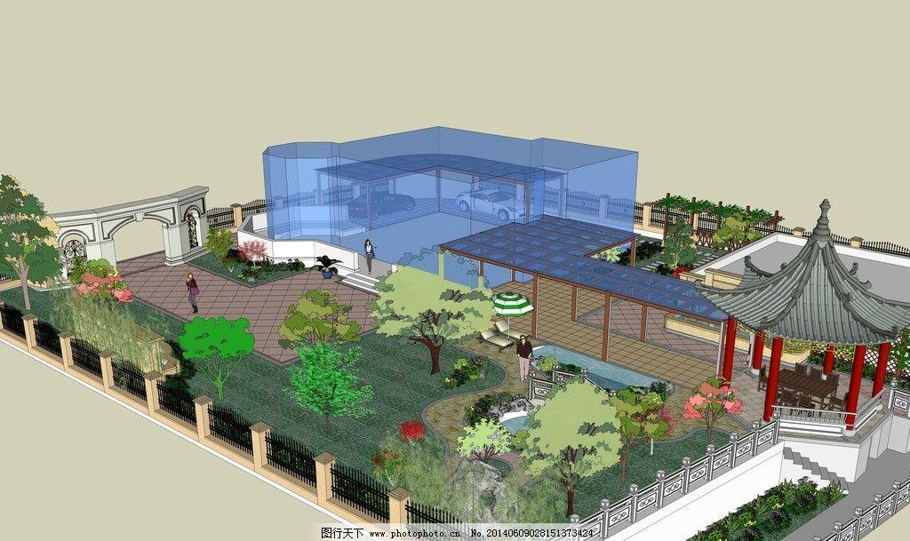 庭院景观 亭子 鱼池 钢架 景墙 廊架 景观设计 环境设计 设计 jpg