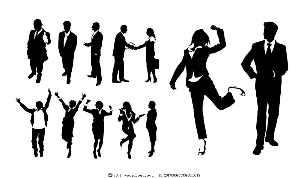 人物剪影 人物 黑白任务 成年人 商业人士 欢呼 雀跃 白领 投影 psd