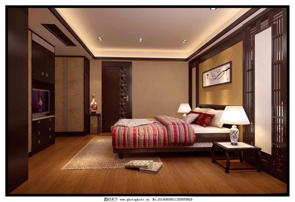 卧室中式 卧室中式免费下载 室内 装修 家居装饰素材 室内设计图片