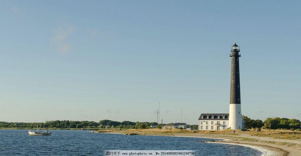 灯塔 摄影 风景 大海 沙滩 自然风景 自然景观 300dpi jpg