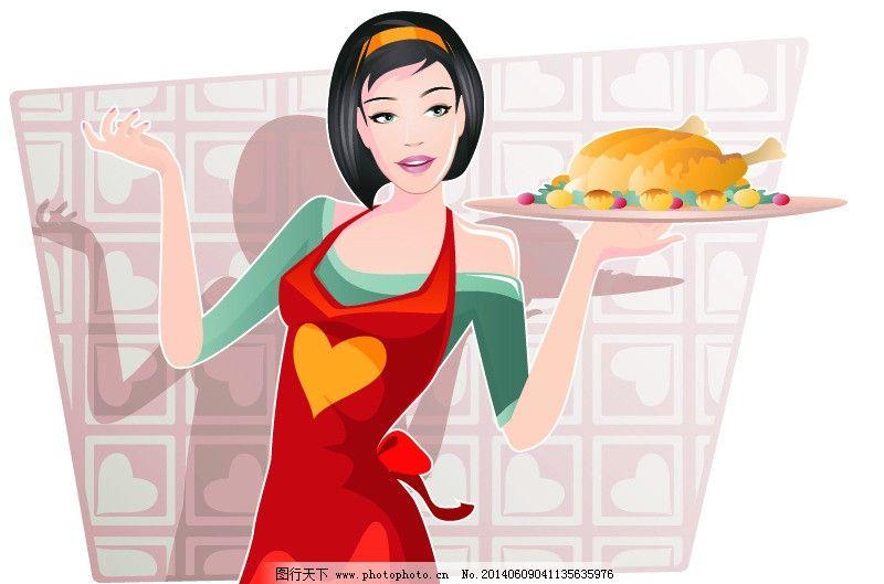 家庭主妇 手绘少女 时尚少女 手稿 女孩 女人 时尚 少女 厨师 烤鸡 时