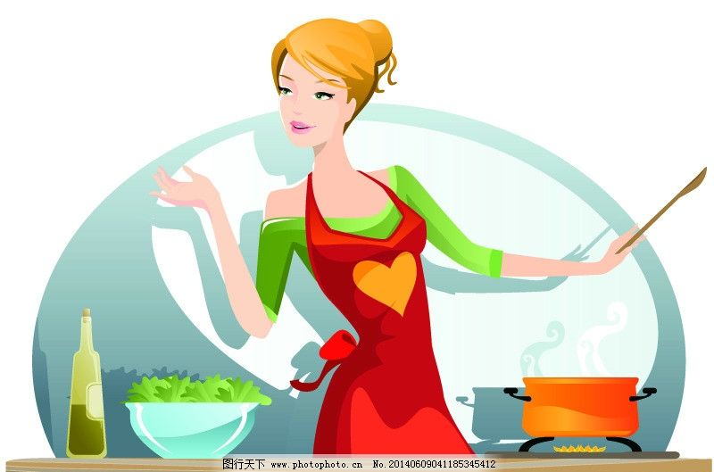 家庭主妇 手绘少女 时尚少女 手稿 女孩 女人 时尚 少女 厨师 时髦