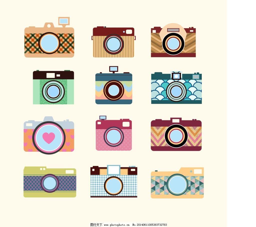 各种相机免费下载 复古 卡通 手绘 相机 复古 手绘 卡通 相机 矢量图