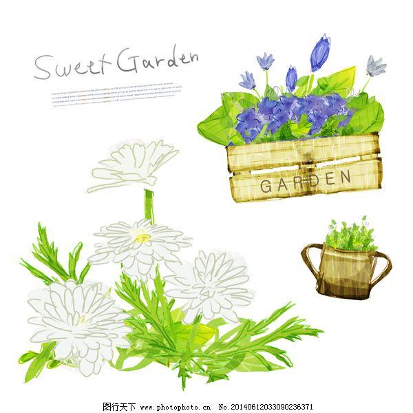 手绘花朵插画 花纹边框 花卉插图 韩国素材 花园 绿色 唯美花朵