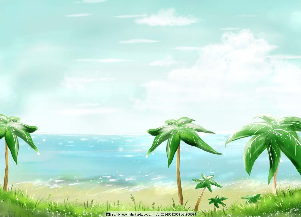 卡通插画 椰子树