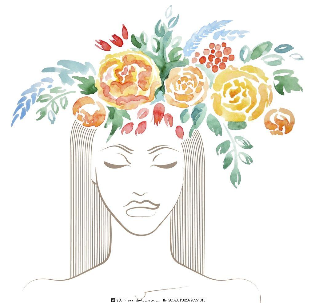 手绘少女 女孩 女人 购物 性感 剪影 花卉 玫瑰花 美女 都市少女