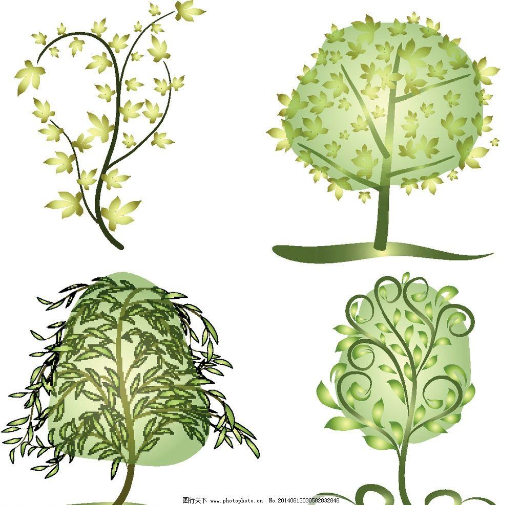 卡通树 春天树木 树花纹