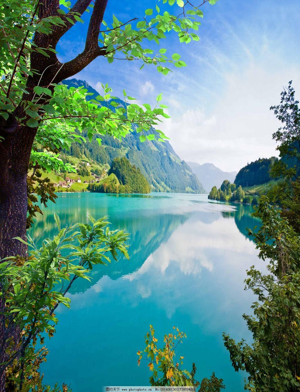psd psd分层素材 白云 背景 风景画 海 蓝天 山 山水画 树 树 水 山