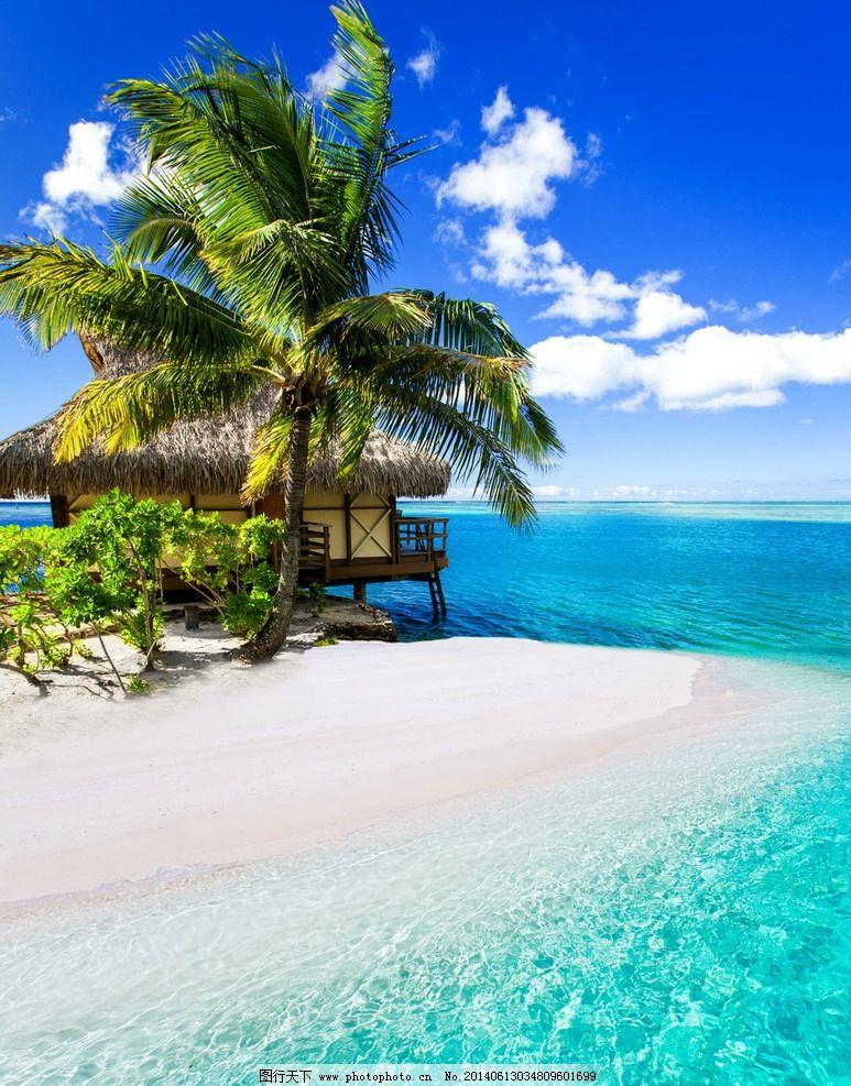 海滩 沙滩 海边 椰子树 热带海滩 旅游 度假 热带 蓝天 白云 蓝天白云