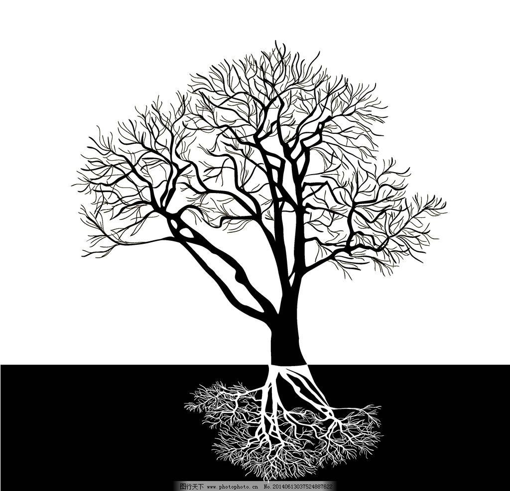 树木剪影 手绘树